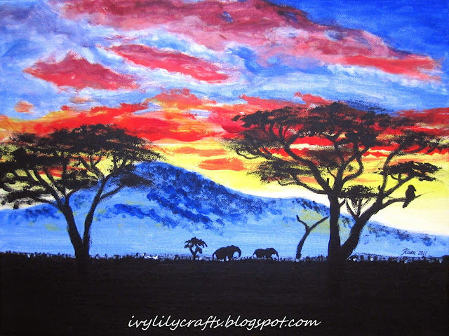 African sunset acrylic painting