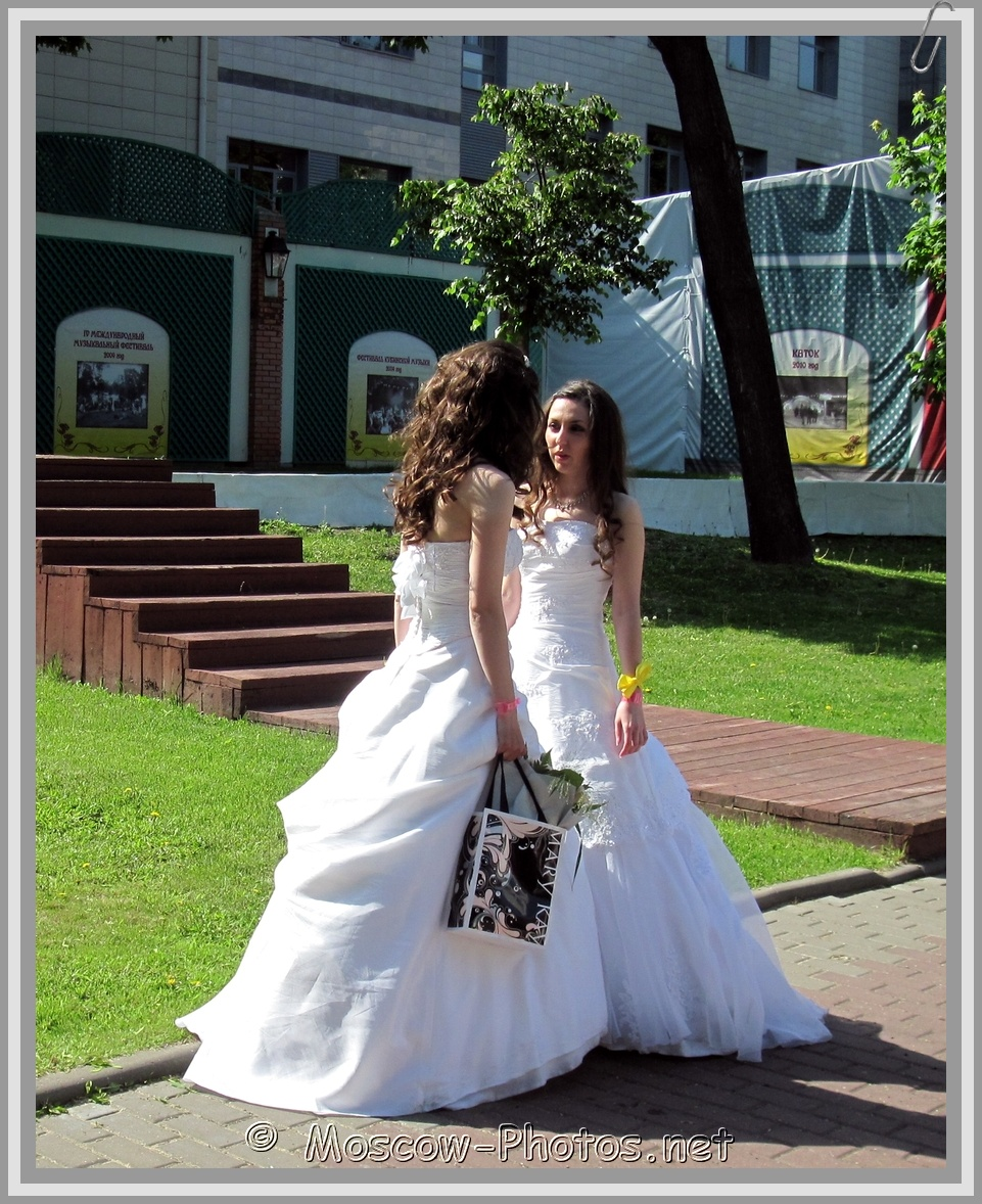 Brides at Summer Day in Moscow