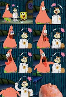 Polosan meme spongebob dan patrick 157 - sandy memukul kepala patrick