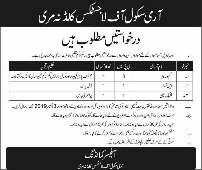 Jobs in Army School of Logistics Murree Last Date 03 Dec 2019