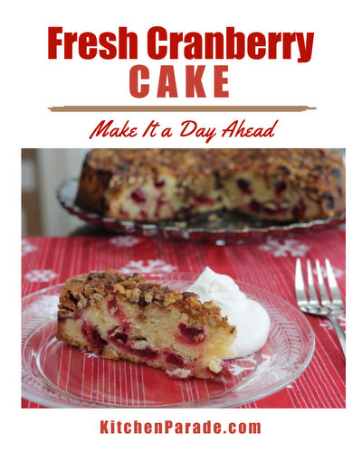 Fresh Cranberry Cake ♥ KitchenParade.com, a rustic cake that pops with fresh cranberries, best made a day ahead so perfect for potlucks and holiday gifts.