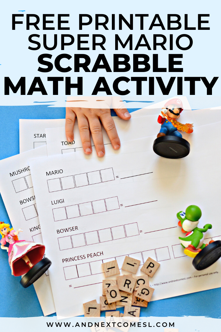 Looking for Super Mario math worksheets for kids? Try this free printable Scrabble math activity!