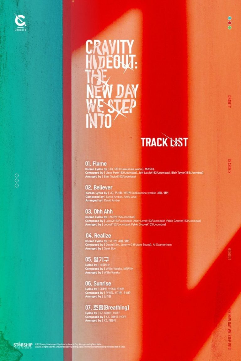 CRAVITY Reveals Track List on The 'Hideout: The New Day We Step Into' Mini Album