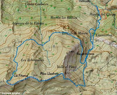 Mapa IGN de la ruta señalizada a la Fitina, Fitona y Les Robequeres.
