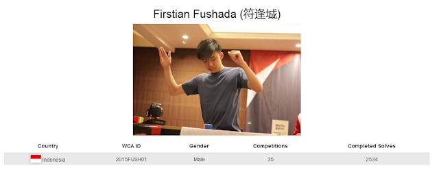 Profile akun WCA Firstian Fushada yang merupakan peringkat ke 1 sekaligus memegang rekor nasional dalam menyelesaikan rubik dengan gerakan sedikit mungkin