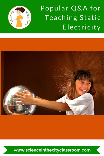 This middle school static lab is a lot of fun, and memorable for students. It includes an explanation, with diagrams, of static electricity, and then five stations of activities for students to explore static electricity. It also has summary questions for them to answer to process and assess their knowledge.  In this post I answer some common questions, and explain ways to extend this activity