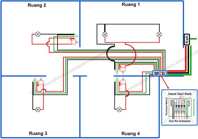 Gambar diagram instalasi listrik rumah type multi line