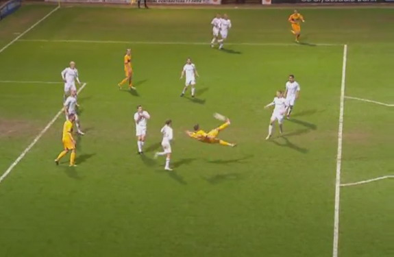 Kallum Higginbotham scores Motherwell's third goal against Hibernian with a scissor kick