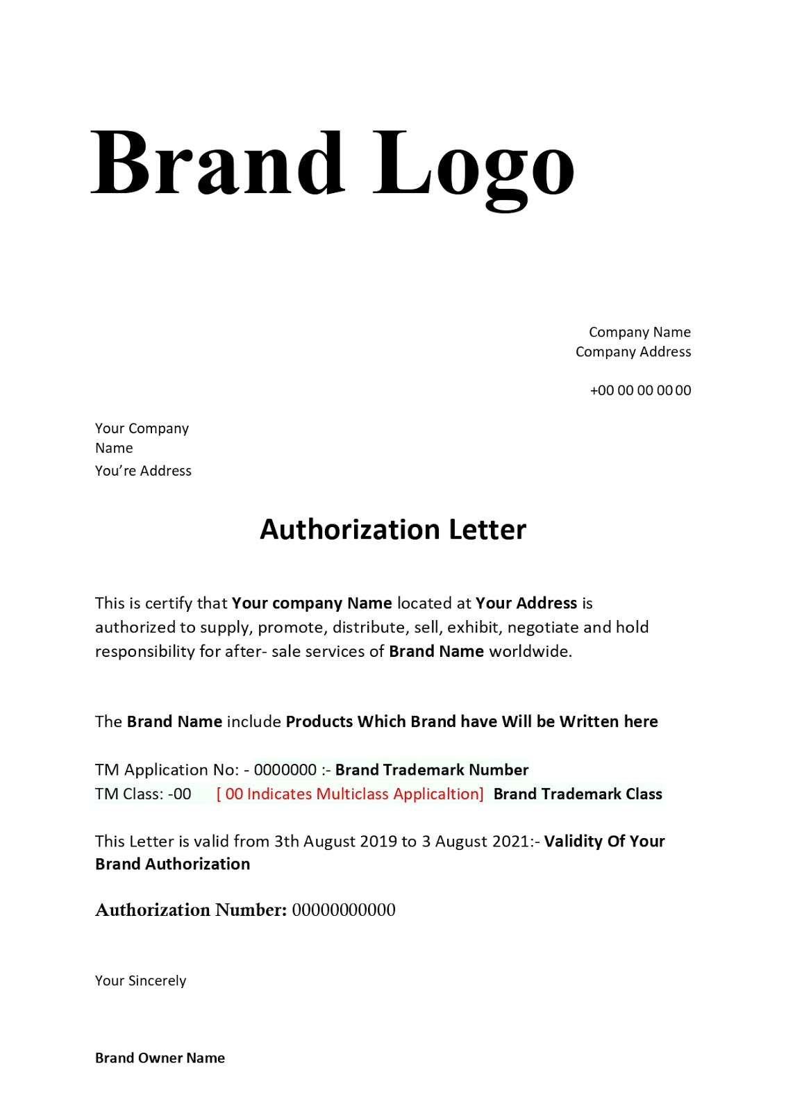 Brand Authorization Letter Format For Sellers