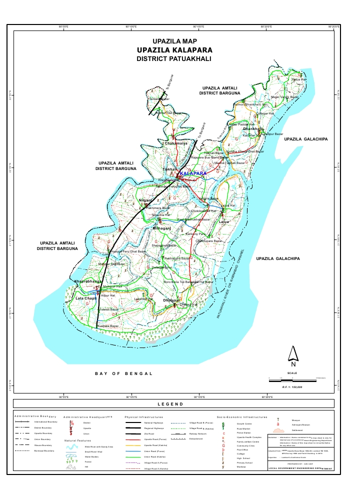 Kalapara Upazila Map Patuakhali  District Bangladesh