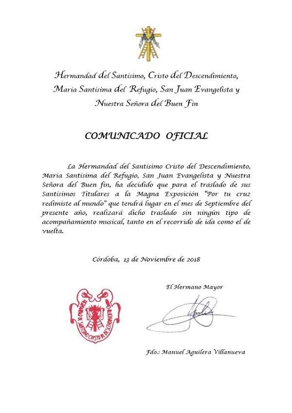 El Descendiento de Córdoba decide hacer los traslado a la Magna exposición en Silencio