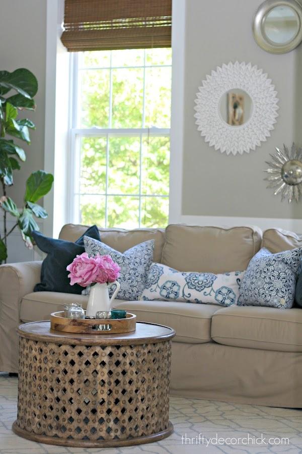 Inexpensive slipcovered sofa