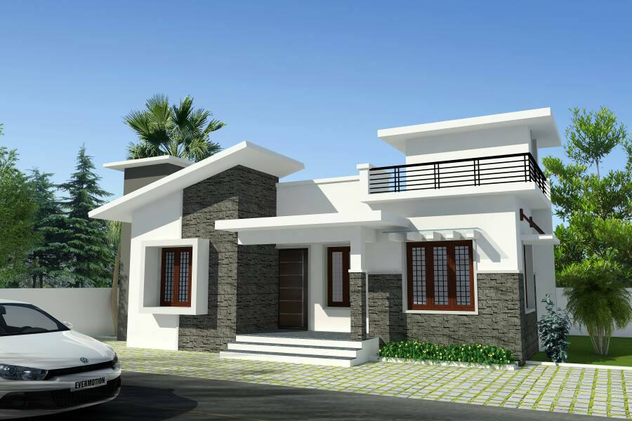 Cute looking low budget 2 bedroom kerala house plan for for Low budget home plans