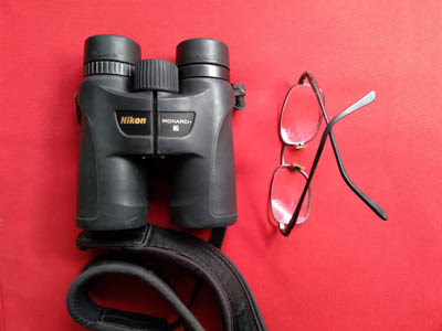 Photo of binoculars and eyeglasses