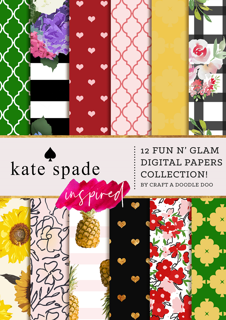 KATE SPADE INSPIRED DIGITAL PAPER PRINTS BY CRAFT A DOODLE DOO. Chic Kate Spade printables for scrapbooking, planner, DIY and home decor projects #katespadestyle #digital #art #prints