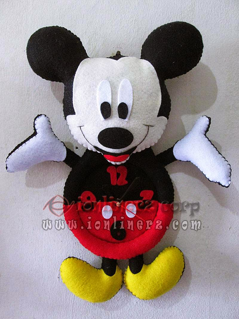 Jam Dinding Flanel Karakter Kartun Boneka Mickey Mouse