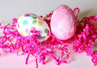 Tissue Paper-Covered Easter Eggs by SweeterThanSweets