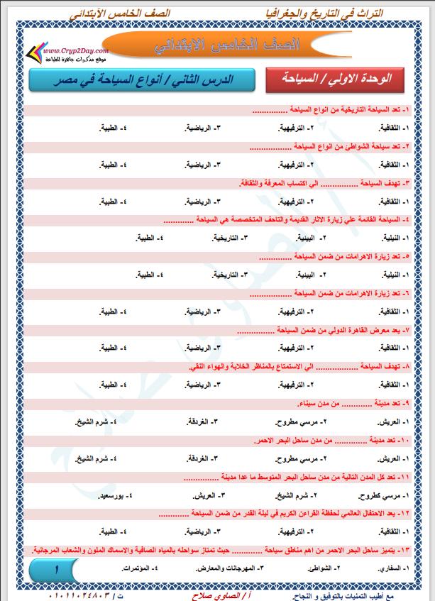 مراجعة دراسات إجتماعية شهر ابريل اختيار من متعدد الصف الخامس الابتدائي الترم الثانى 2021 مستر الصاوى صلاح