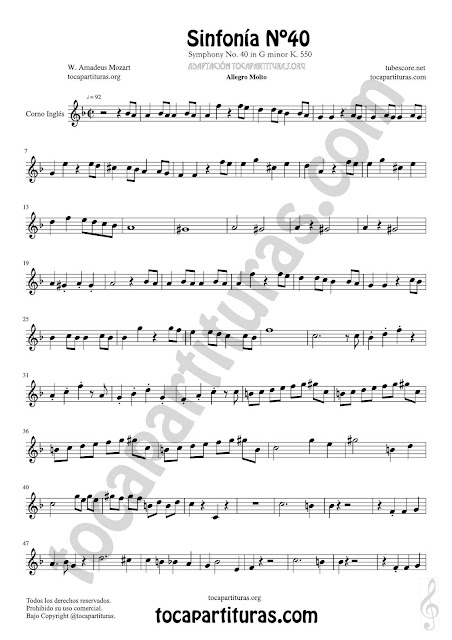 Hoja 1  Corno Inglés Partitura de Sinfonía Nº 40 English horn Sheet Music for French Horn Music Scores