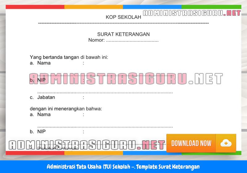 Contoh Format Surat Keterangan Administrasi Tata Usaha Sekolah Terbaru Tahun 2015-2016.docx