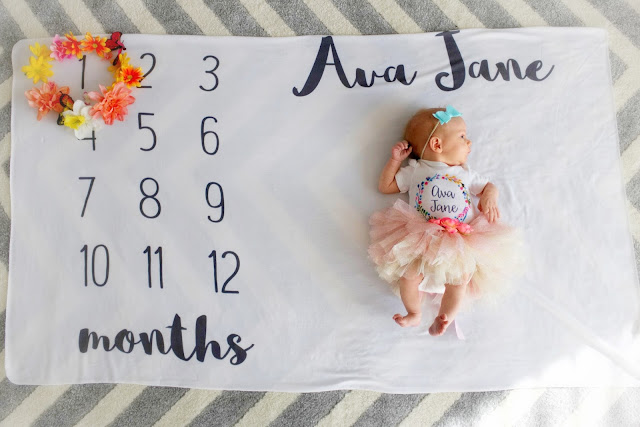 ava jane baby girl spring month to month monthly milestone blanket pregnancy ideas 1 months old child model flower crown newborn