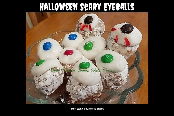hese are store bought donuts made into a spooky Halloween Treat like eyeballs for fun with M and M's on the middle of the frosting used for the pupils of the eyes