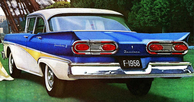 1958 Ford Fairlane, red yellow & blue primary colors