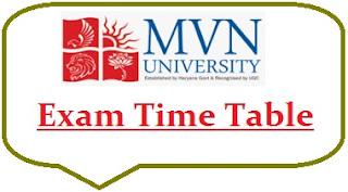 MVN University Exam Date Sheet 2021