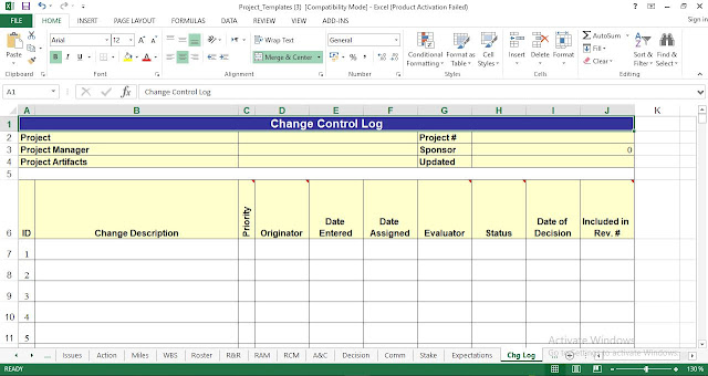 Change Control Log Template Excel
