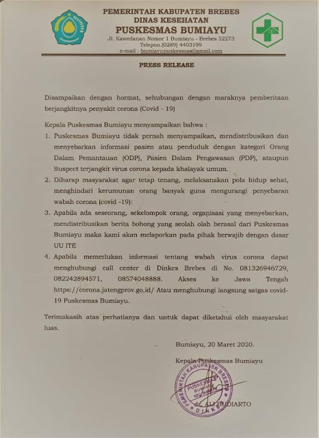 Press Release Puskesmas Bumiayu