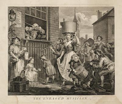 William Hogarth - The enraged musician 1741
