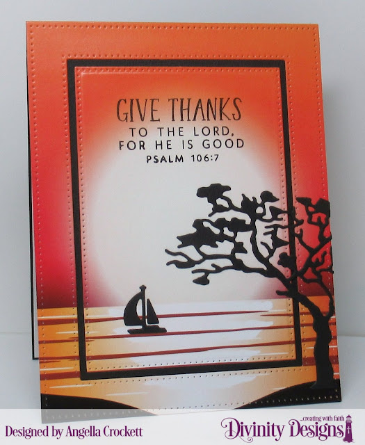 Divinity Designs LLC April Blessings Box; Landscapes Paper Pad, Pierced Rectangles Dies, Pierced Frames Dies; Card Designer Angie Crockett