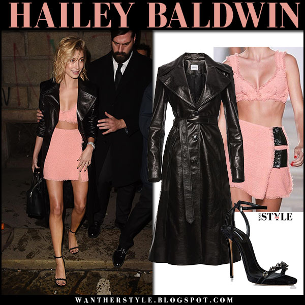 Hailey Baldwin in black leather trench coat magda butrym and pink mini skirt sonia rykiel night out fashion february 24