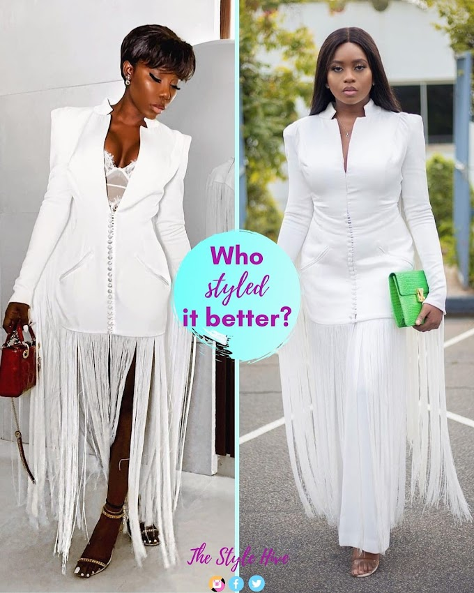 Fashion Poll - @og_styletemple Vs @kikiosibanjo; Who Styled This Style Temple Dress Better?