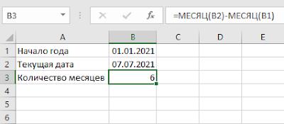 Как посчитать количество месяцев между датами в Excel