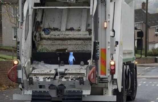 Ghostly Glove in the Dustcart