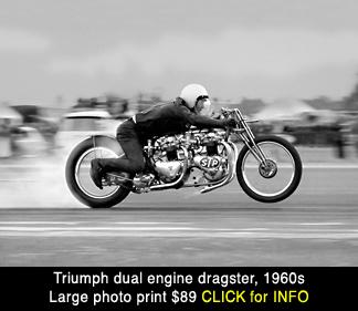 vintage Triumph dual motor drag bike large photo print for sale