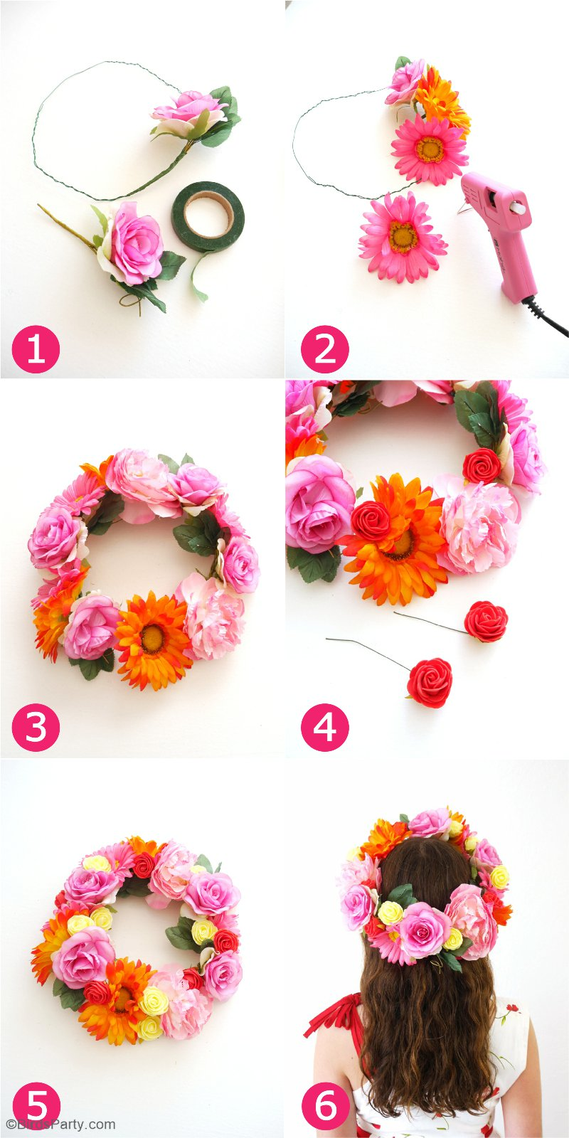 DIY Pretty & Easy Flower Crowns - learn to craft these fashion accessories for your Cinco de Mayo celebrations, weddings or Mother's Day party! by BIrdsParty.com @BirdsParty