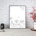 Black Doodle Flowers Printable Art