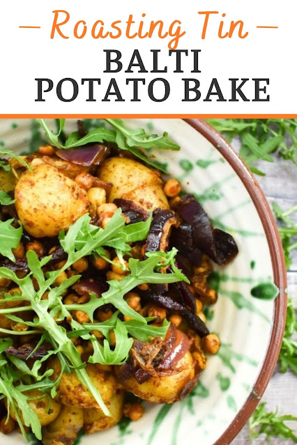 A simple roasting tin recipe for balti potatoes with added chickpeas for protein. Suitable for vegetarians and vegans.