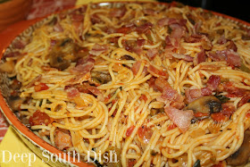 A quick spaghetti dish made with roasted fresh tomatoes and seasoning vegetables, mushrooms and bacon. Known by a few different names, including Okie Spaghetti and Cowboy Spaghetti, when beef is included.