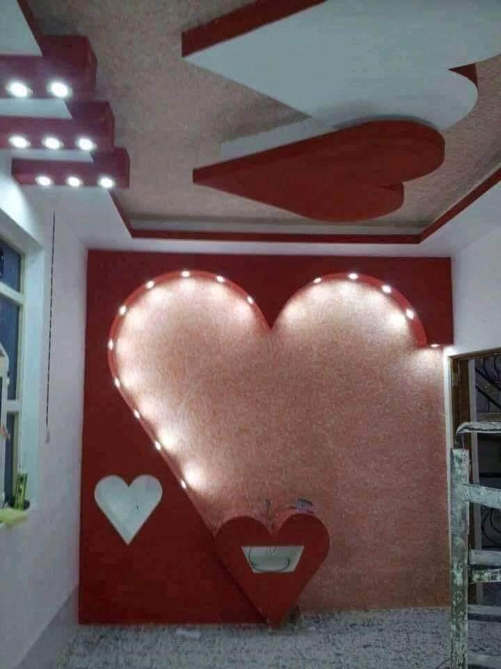 ديكورات جبس بورد للغرف على شكل قلب بلمسات عصرية