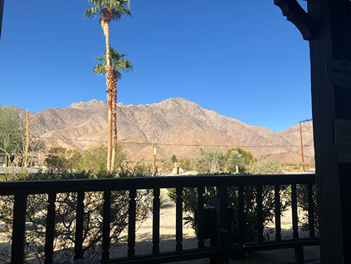 Nice view of the nearby mountains as seen from the hotel deck in Borrego Springs (Source: Palmia Observatory)