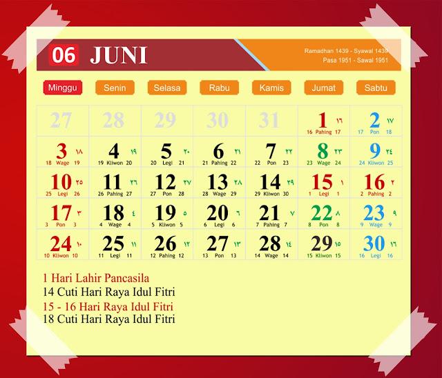 Download Kalender Juni 2018 Hijriyah Jawa Dan Pasaran