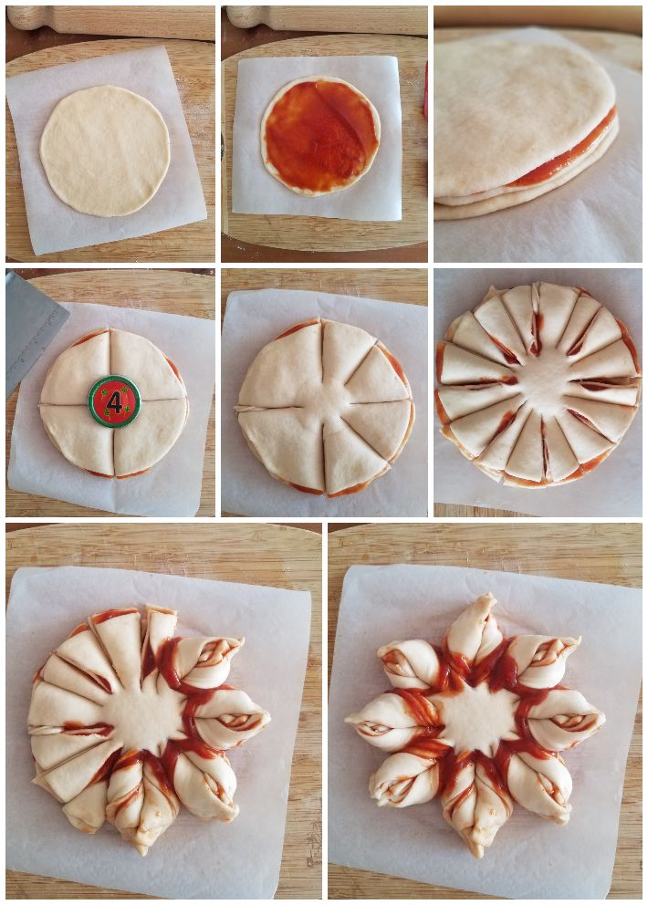 Cómo formar la estrella de pan dulce, collage de 8 fotos