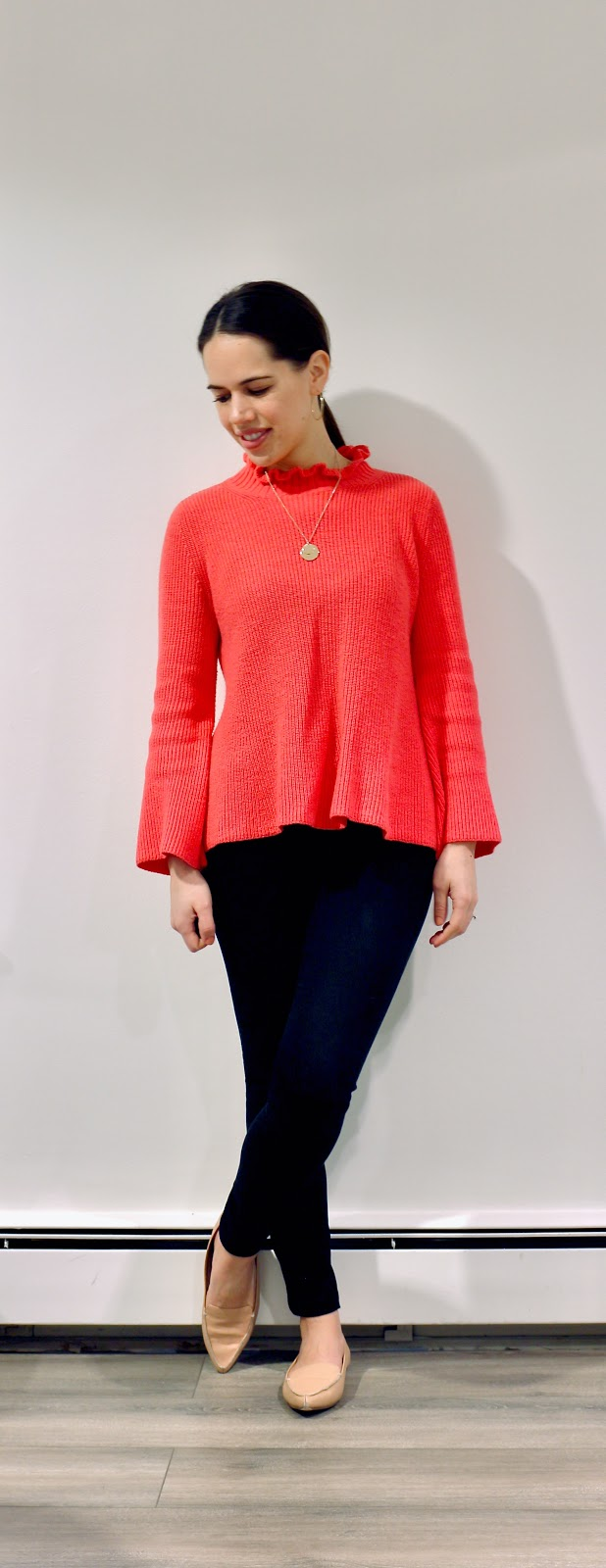 Jules in Flats - Hot Pink Ruffle Mock Neck Swing Sweater (Business Casual Winter Workwear on a Budget)