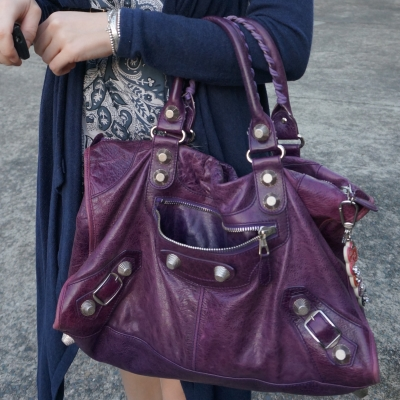 blue outfit with Balenciaga raisin purple 2009 giant silver G21 hardware work bag | awayfromtheblue
