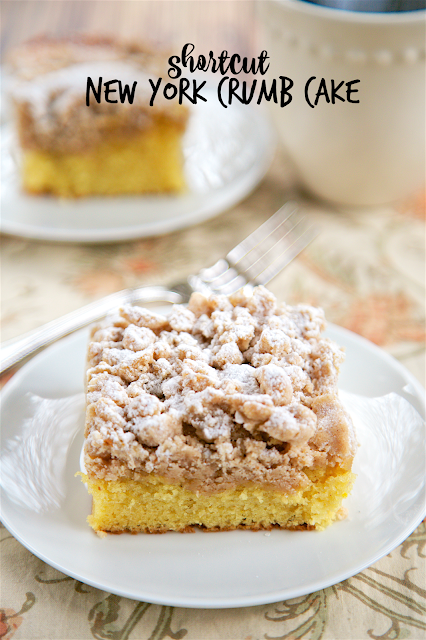 Shortcut New York Crumb Cake - yellow cake mix topped with an easy homemade crumb topping. Yellow cake mix, sugar, brown sugar, cinnamon, butter and cake flour. Super easy to make and tastes great. This cake is OUTRAGEOUSLY good! I could not stop eating it! Great for a crowd. We ate this for breakfast and dessert.Shortcut New York Crumb Cake - yellow cake mix topped with an easy homemade crumb topping. Yellow cake mix, sugar, brown sugar, cinnamon, butter and cake flour. Super easy to make and tastes great. This cake is OUTRAGEOUSLY good! I could not stop eating it! Great for a crowd. We ate this for breakfast and dessert.