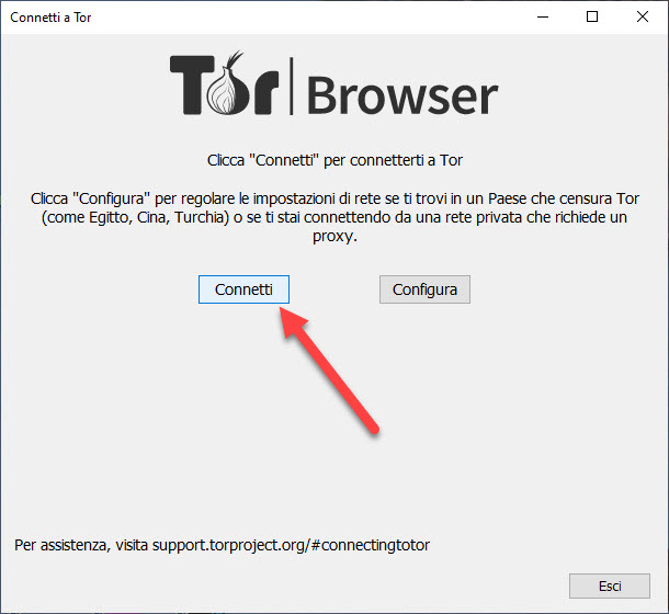 connessione a tor browser