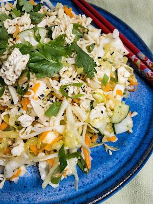 Closeup - crunchy ramen noodle salad